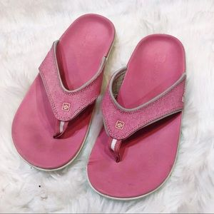 Spenco Yumi Pink Canvas Supportive Sandals Size 9